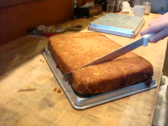 Coffee Cake being sliced