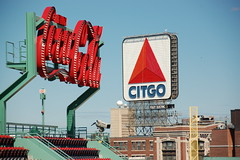 Fenway Park Tour, Opening Day (-Eve) 2009: Coca-Cola sign over left field, Citgo sign over Kenmore Square