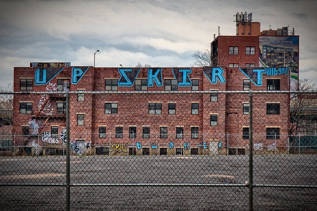 "The ""Upskirt"" graffiti building...across from the Brooklyn Navy Yard"