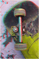 Busted Skateboard (Anaglyph 3D) (patrick.swinnea) Tags: abandoned broken sports wheel lost stereoscopic stereophoto 3d anaglyph skatepark skate skateboard