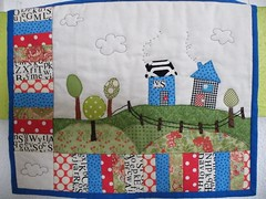 finished - hanging on the wall (monaw2008) Tags: quilt handmade swap patchwork applique dollquilt monaw monaw2008 dqs6