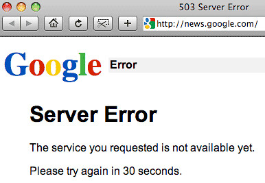 google news 503 error