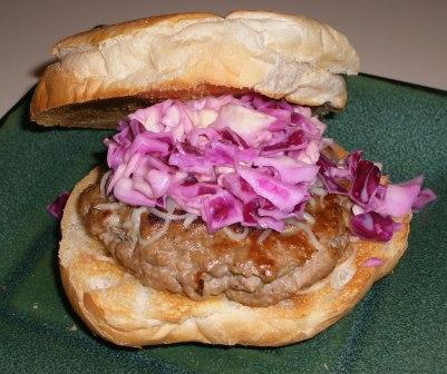 Turkey Burger with Slaw on Homemade Burger Bun