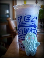 Bubble Tea =  (perfectlyflwed) Tags: baby toy yummy bubbletea drink vinyl pearls blueberry boba smoothie lightblue sadface crazylabel treeson wausauwi teapalace strawberryjellies bigyellowstraw