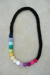 rainbow necklace 1 (Minuit12) Tags: black collier necklace beads rainbow noir couleurs crochet yarn arcenciel laine perles multicolore