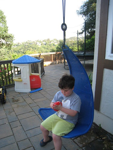 Leo in His New Chair Swing