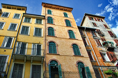 Verona, Italy (sminky_pinky100 (In and Out)) Tags: old city travel blue italy orange yellow buildings pretty apartments angle pov chara