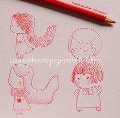 late night sketches (bengi gencer) Tags: moleskine illustration redpencil cutesketches