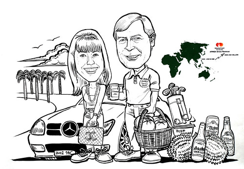 Couple caricatures for Mastercard Mr & Mrs Sekulic detail in ink and brush