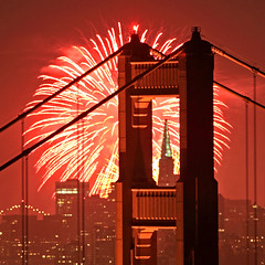 Red Sky at Night (Rob Kroenert) Tags: sanfrancisco california bridge red usa skyline night golden gate san francisco long exposure downtown pyramid display fireworks marin kaboom goldengatebridge headlands transamerica transamericapyramid kfog