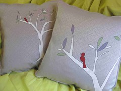 Purple Autumn (pabrika) Tags: autumn red white tree bird fall leaves purple handmade lavender sage pillow cover pillowcase cushion throw microsuede