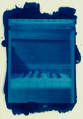 cyan - piano 1 (T. Scott Carlisle) Tags: blue film polaroid piano 4x5 type55 largeformat cyanotype tsc altprocess btm tphotographic tscarlisle