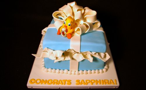 Tweety Bird Gift Box Bridal Shower Cake