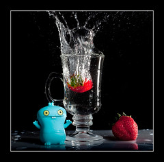 Kabooom! (and[w]) Tags: motion macro cup water canon doll vinyl strawberries 100mm freeze ugly splash uglydoll f28 babo 5dii
