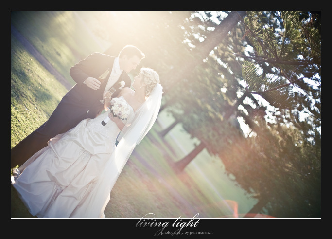 Bride and groom amongst pine trees. King Edward Park. Newcastle wedding photography.