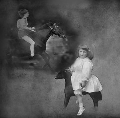 Dream on, Little Lady (Romair) Tags: horse composite child photoshopelements makeitinteresting