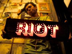 """riot"" lightblok (thesyemism) Tags: wood signs sign matt glow interior crafts fixtures handcrafted crafty custom deco signboard lightbox mdf minilights blokon signbox lightblok signlamp lampboxhandmade"