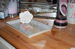 Little Dish on Bedside (innocentcharmer) Tags: wood pink blue home glass rose ceramic table mirror design bedroom interior cream makeup dressing mineral paisley greengate