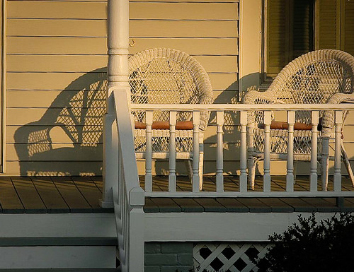 Setting sun on porch wicker