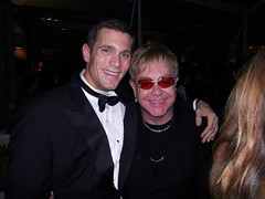 Christopher McDaniel and Elton John at Vanity Fair After Oscar party