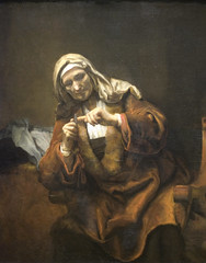 Old Woman Cutting Her Nails (or, the most disturbing painting at the MET) (Maulleigh) Tags: york old woman museum painting style her nails cutting fingernails manicure met rembrandt metropolitan hygeine