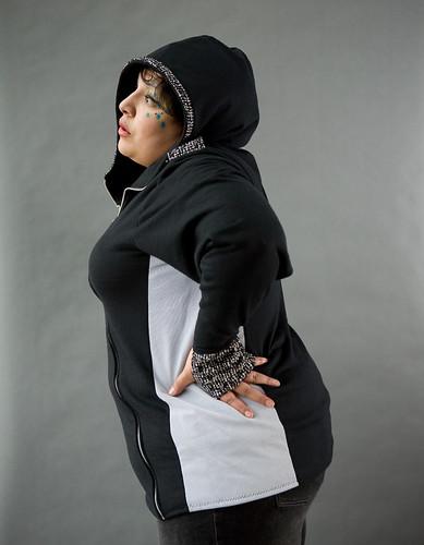 Asymmetric high neck zip hoody