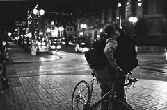 Goodnight (shetha) Tags: bike night oregon 35mm canon portland kiss hc110 goodnight hp5 pdx goodbye eos5 pushed2stops iso1600 canonef35mmf14l ilfordfilm dilutionb 11min sw800yamhillst ns09sumission