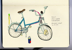 Paul's Custom Iron Horse Champagne (George Pollard) Tags: colour moleskine bike bicycle pen paul sketch whitewalls punk drawing champagne garage can sketchbook scan worm monday custom spikes wd40 ironhorse crude identical photorealism pmb pimpmybike projectnight observationaldrawing drunkdrawing springerforks 160309 speedkingkayschopshop wwwpimpmybikenet photoshoppedcolour