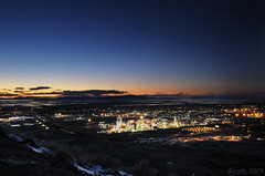 Flying-J, Great Salt Lake, and Sunset (jssutt) Tags: sunset industrial greatsaltlake citylights bluehour dri oilrefinery flyingj daviscounty digitalblending northsaltlake jssutt jeffsuttlemyre