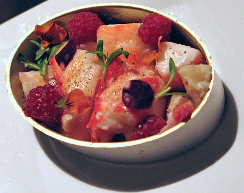 Jumbo lump King Crab meat with  Raspberries