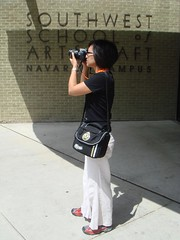 Antoinette taking a picture of the library