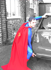 SUPERMAN IN CROPWELL BISHOP?! (.ADRIANA ROMANO.) Tags: blue red bw white black muscles car hall nikon memorial uncle mini super superman cooper bishop 2009 zio cropwell