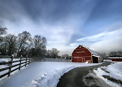 Winterscape (` Toshio ') Tags: road trees winter sky snow clouds barn fence landscape farm farming perspective snowstorm maryland redbarn winterscape wintery midatlantic toshio superaplus aplusphoto kinderfarm platinumheartawards heritage2011