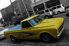 Across from Stan's (Jobe Roco) Tags: urban chevrolet yellow photoshop manipulated truck cutout 1971 nikon louisiana lafayette pickup streetscene 71 chevy desaturated 2009 gaussianblur selectivecolor d60 dta 6129 downtownalivespringseries