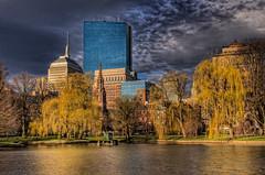 Boston Public Garden (NikonJim) Tags: park city tree water boston landscape spring pond cityscape lagoon explore weepingwillow hdr hancocktower d300 9shot bostonpublicgarden photomatix explored allrightsreserved 2470mmf28g vosplusbellesphotos nikonjim