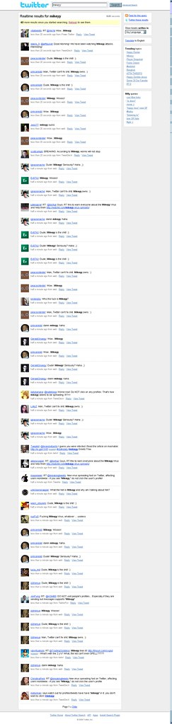 Screenshot of Twitter Search showing spam messages sent out by stalkdaily.com's worm
