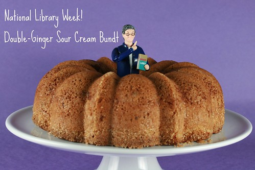Food Librarian - Double-Ginger Sour Cream and Bundt Cake with Ginger-Infused Strawberries