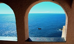 A window over the blue (HBM) (klausthebest) Tags: blue light sea sky italy colour church skyline architecture italia liguria italians electricblue bonassola hbm worldbest holidaysvacanzeurlaub theunforgettablepictures theperfectphotographer sensationalphoto madonnettadellapunta