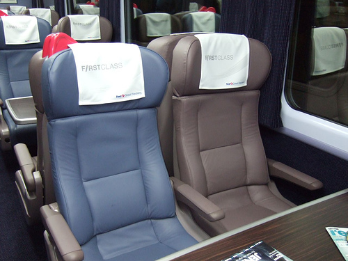 Interior of a First Class carriage, Great Western railway (UK)