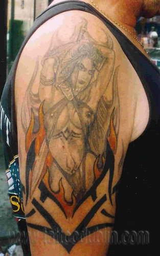 female warrior tribal grey tattoo female warrior tribal