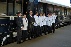 Venice Simplon ~ Orient Express crew (Georgo10) Tags: station train wagon prague railway smichov praha crew vehicle orientexpress vagon vlak ndra nadrazi smchov posadka posdka
