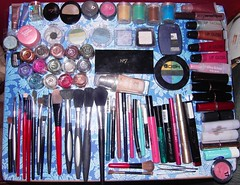 Makeup collection (amazin_vix) Tags: table makeup foundation brushes 17 lipstick blush eyeshadow nivea lipgloss liquid avon sharpener bodyshop pigment loreal palette mousse eyeliner tweezers maybelline damask barrym no7 rimmel makeupbrushes smashbox collection2000 naturalcollection