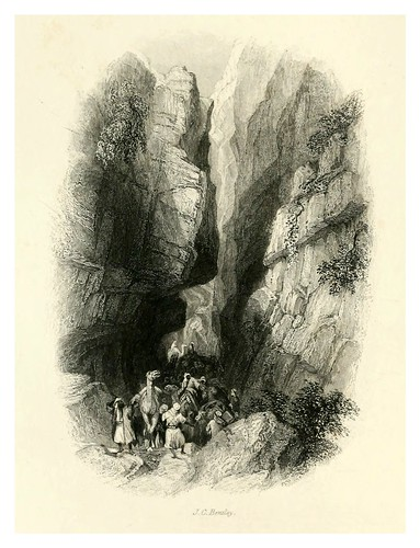017-La Quebrada de entrada vista desde el Khusne-Bartlett, W. H. 1856