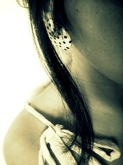 polkadots were invented to make you feel better! (mary/peacock) Tags: summer blackandwhite bw sunlight girl june hair neck sony polkadots node meche earing happymonday