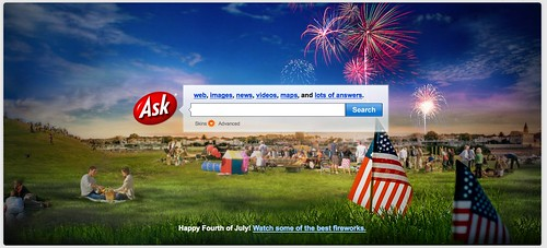 Ask.com 4th Of July Logo 2009