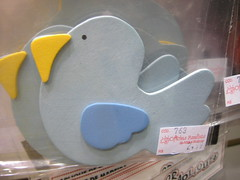 Pássaro: aplique de madeira