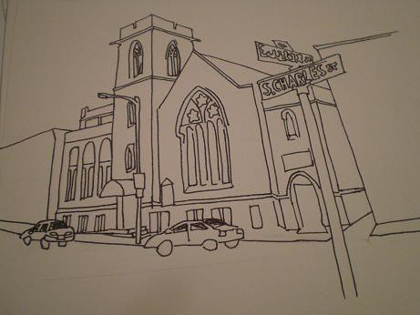Grace Church - line drawing