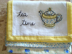 Tea Time (seesuestitch) Tags: kitchen tea towels decor handstitched teaparty teatowels handembroidered