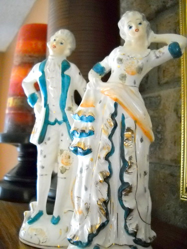 Lovely Shabby Chic Ceramic Victorian Figurines - English Style Man and Lady