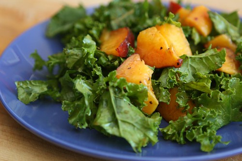 Peach and Kale Salad with Balsamic Glaze